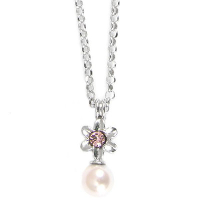Necklace in silver with flower and pink pearls