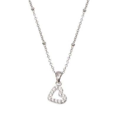 Collana in argento con cuore pendente in zirconi