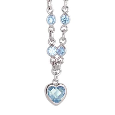 Collana in argento con zirconi acqua marina