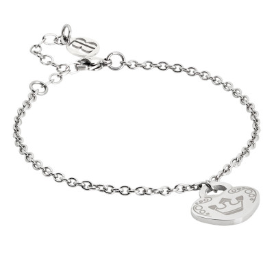 Bracelet with pendant heart and crown