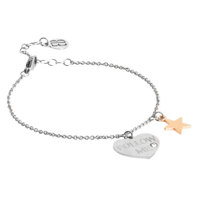 Follow me bracelet with two-colored pendants