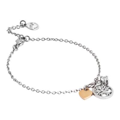 Bracciale morbido con albero della vita, cuore e zircone pendenti