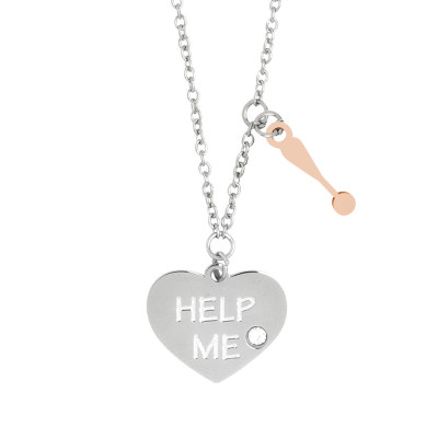 Necklace with bicolor pendants kiss me and Swarovski