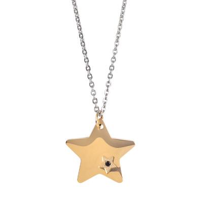Collana con stella placcata oro rosa e zircone