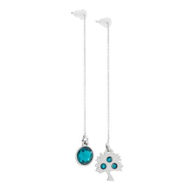 Asymmetric earrings with Swarovski blue zircon