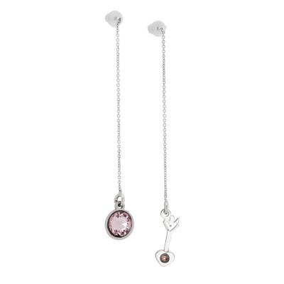 Asymmetric earrings with Swarovski blush roses