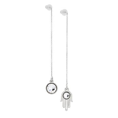 Asymmetric earrings with Swarovski crystal