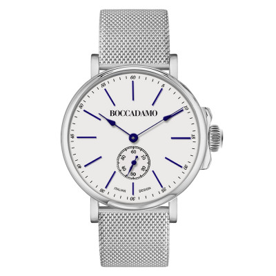 Silver man watch with second counter