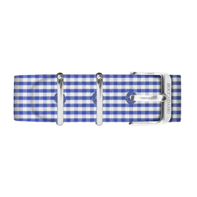 Cinturino sartoriale fantasia vichy blu e bianco