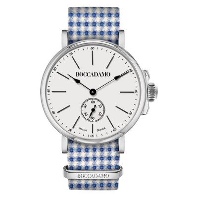 Clock with sartorial strap pied de poule from the tones of blue and white