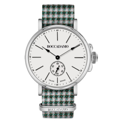 Clock with sartorial strap pied de poule from the tones of green and white