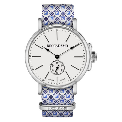 Clock with sartorial strap reason optical blue and white