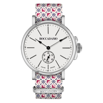 Clock with sartorial strap reason optical red and white