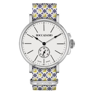 Clock with sartorial strap reason optical yellow, blue and white