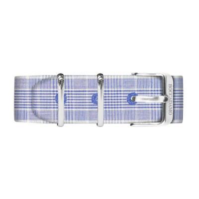 Cinturino sartoriale fantasia principe di galles blu e bianco