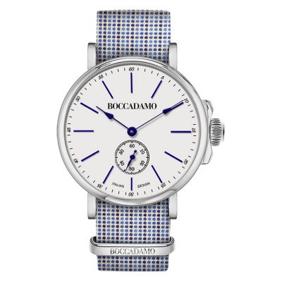 Clock with strap microquadri tailoring and blue and white