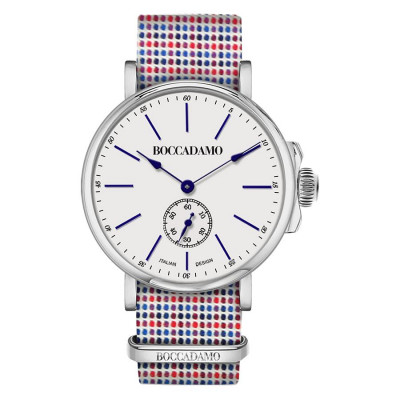 Clock with strap microquadri sartorial red and blue