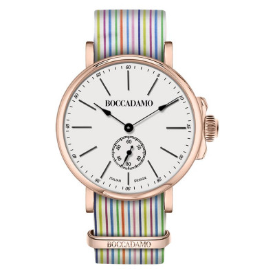Clock with sartorial strap to horizontal lines multicolor and buckle pink