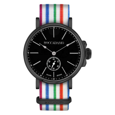 Clock with sartorial strap to horizontal lines multicolor and black buckle