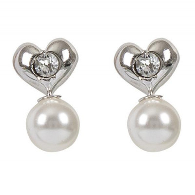 Earrings in the lobe with heart and pearl Swarovski