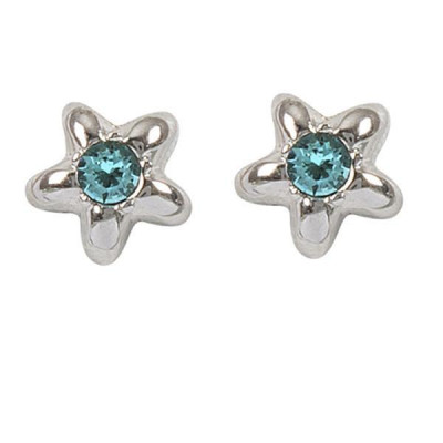 Earrings in the lobe with star and Swarovski crystal water green