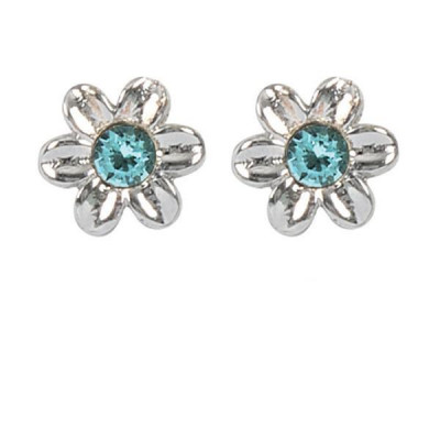 Earrings in the lobe with flower and Swarovski crystal water green