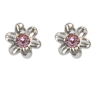 Earrings in the lobe with flower and Swarovski Crystal Pink
