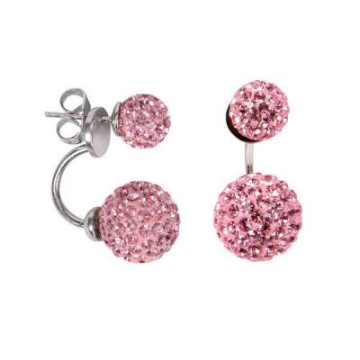 Asymmetric earrings with double boule rhinestone light rose