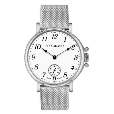 Women's watch with white dial, Arabic numeral hour markers and seconds counter