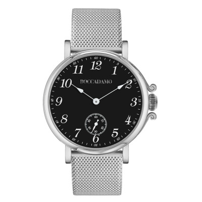 Watch with black dial, Arabic numeral hour markers and seconds counter