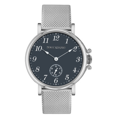 Watch with blue dial, Arabic numeral hour markers and seconds counter