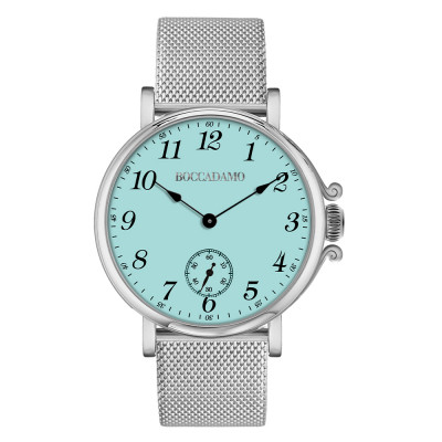 Clock with milk and mint dial, Arabic numerals and seconds counters