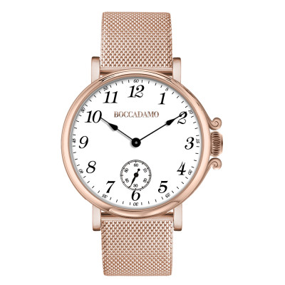 Rose gold-plated watch, Arabic numeral hour markers and seconds counters