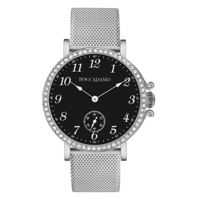 Watch with black dial, seconds counter and Swarovski bezel