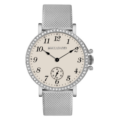 Clock with champagne dial, seconds counter and Swarovski bezel