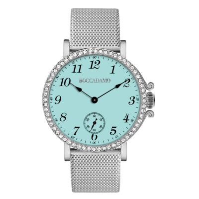 Clock with milk and mint dial, seconds counter and Swarovski bezel