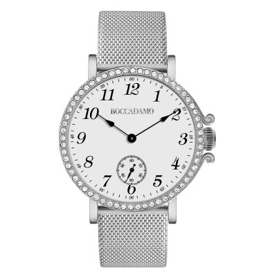 Watch with white dial, seconds counter and Swarovski bezel