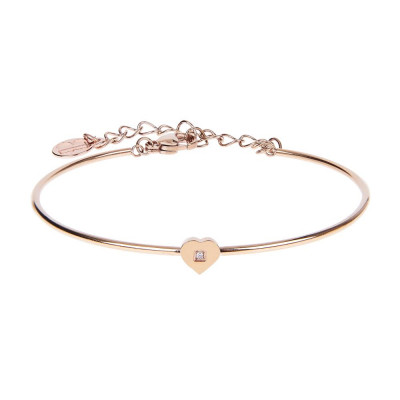 The semirigid Bracelet in pink with heart and zircon nestled