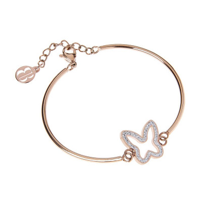 The semirigid Bracelet in pink with central butterfly pavèdi strass