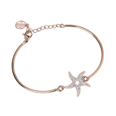 The semirigid Bracelet in pink with star center in pavèdi strass