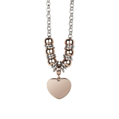 Necklace bicolor with heart pendant gold plated pink