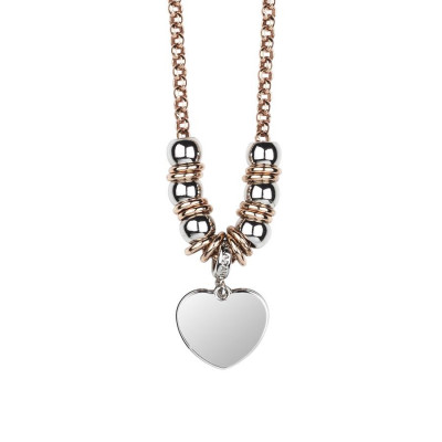 Necklace bicolor with heart pendant rodiatos