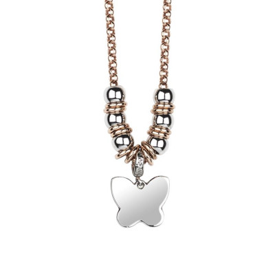Necklace bicolor with butterfly pendant rhodium plated