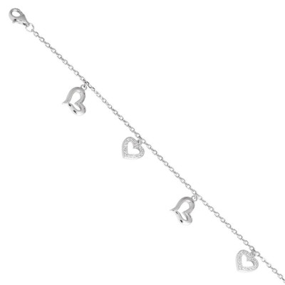Bracelet in silver with hearts of zircons and charms
