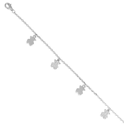 Bracelet in silver with teddy bears of zircons and charms