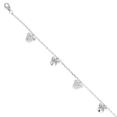 Bracelet in silver with nose of bear of zircons and charms
