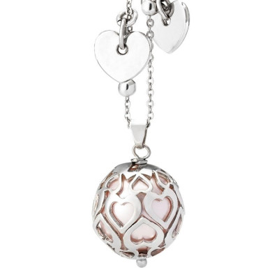 Necklace with pearl Swarovski rosaline and perforated hearts