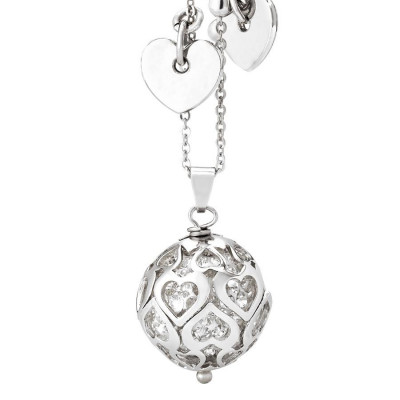 Necklace with boule of white rhinestones and perforated hearts