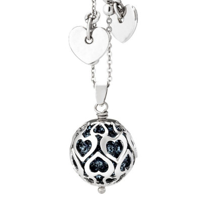 Necklace with boule rhinestone blue montana and perforated hearts
