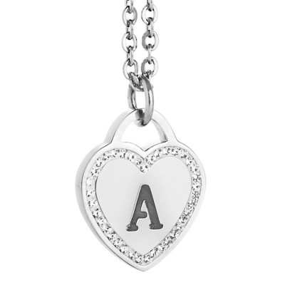 Rhodium plated necklace with heart and letter to the perforated